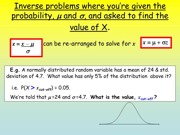 Inverse problems where you're given the probability,