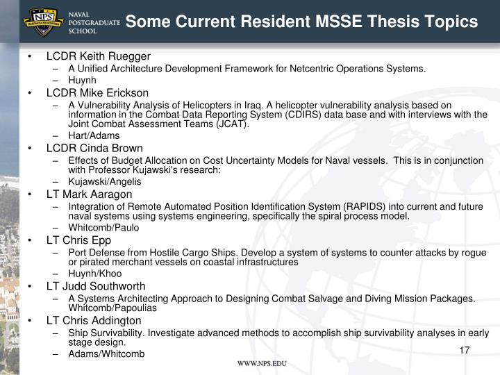 Some Current Resident MSSE Thesis Topics