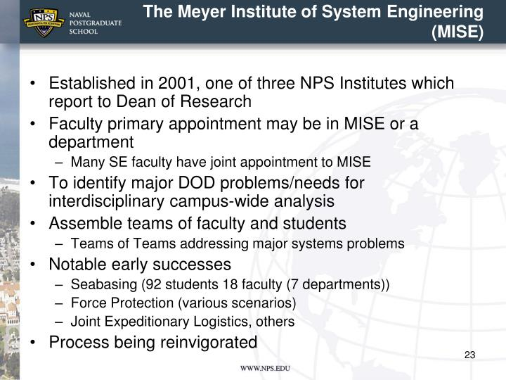 The Meyer Institute of System Engineering (MISE)