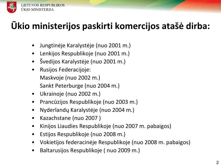Ūkio ministerijos paskirti komercijos atašė dirba: