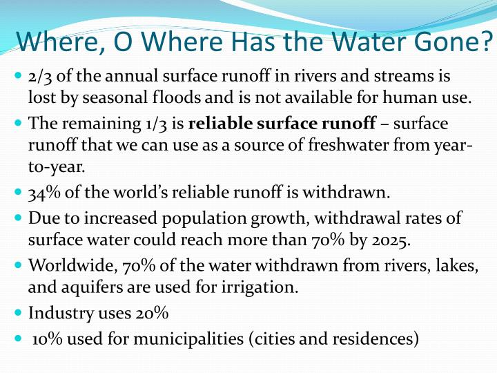 Where, O Where Has the Water Gone?