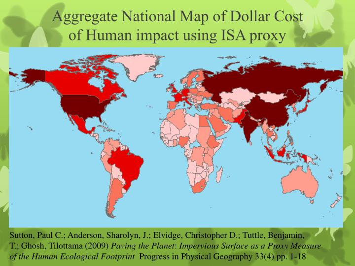 Aggregate National Map of Dollar Cost
