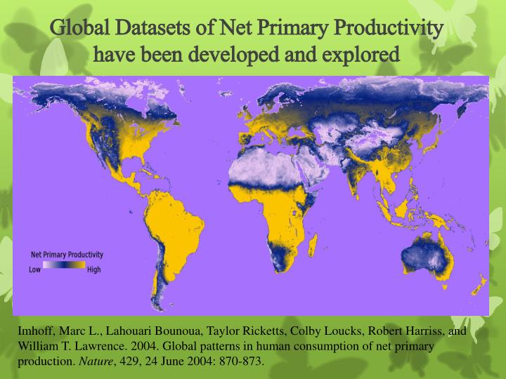Global Datasets of Net Primary Productivity have been developed and explored