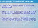 criticisms to the maritime strategy