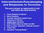 interventionism peacekeeping and responses to terrorism