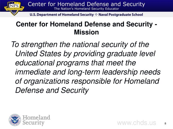 Center for Homeland Defense and Security - Mission