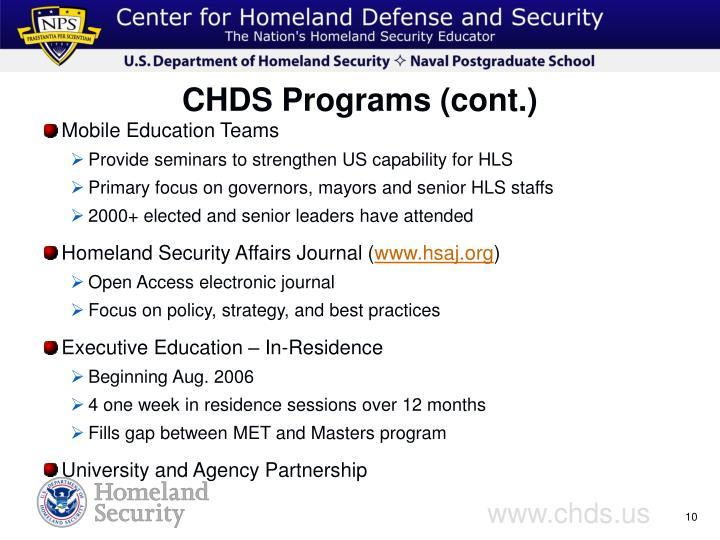 CHDS Programs (cont.)