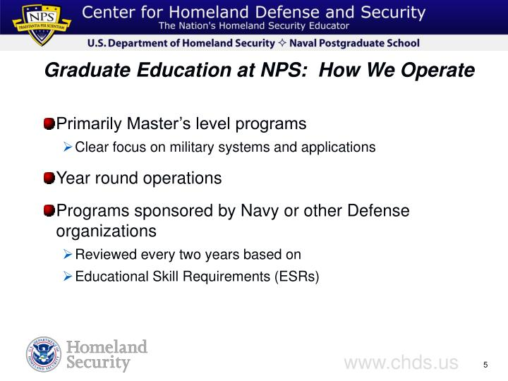 Graduate Education at NPS:  How We Operate