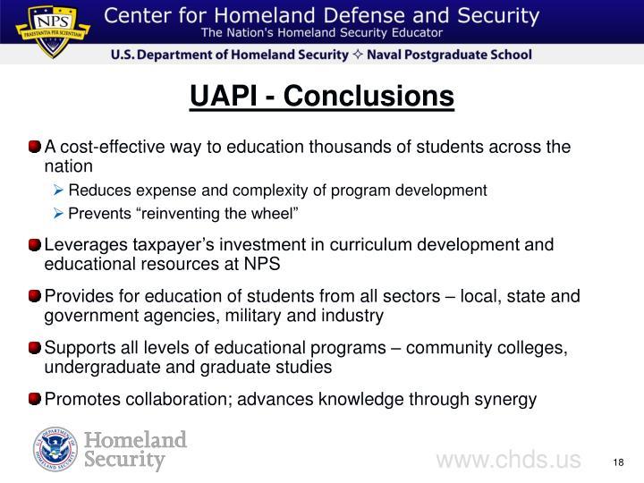 UAPI - Conclusions