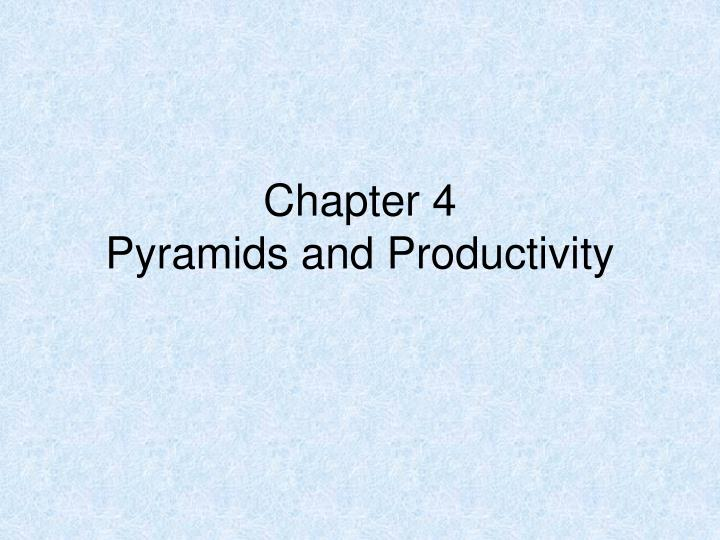chapter 4 pyramids and productivity