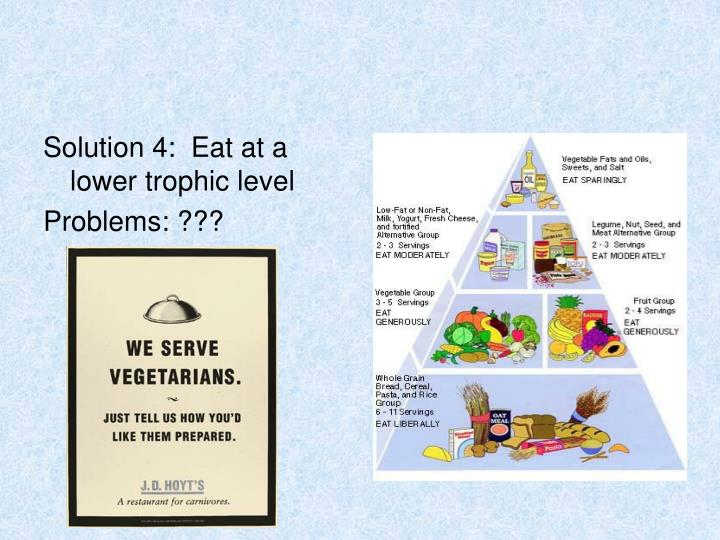 Solution 4:  Eat at a lower trophic level
