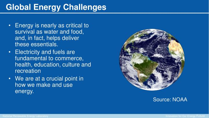 Energy is nearly as critical to survival as water and food, and, in fact, helps deliver these essentials.