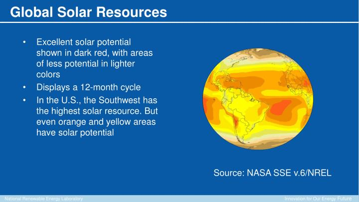 Excellent solar potential shown in dark red, with areas of less potential in lighter colors