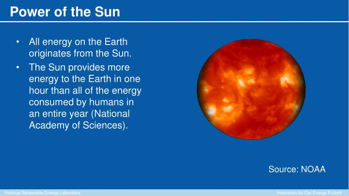 All energy on the Earth originates from the Sun.