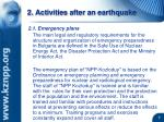 2 activities after an earthquake