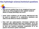 key hydrologic science technical questions