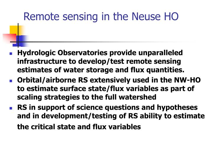 Remote sensing in the Neuse HO
