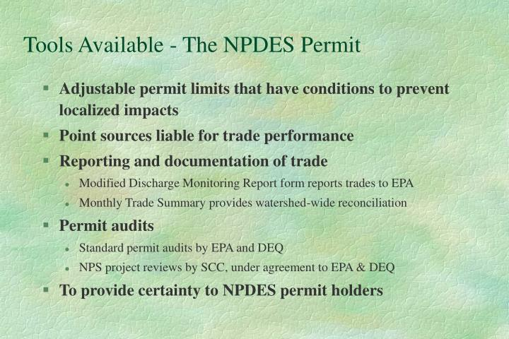 Tools Available - The NPDES Permit