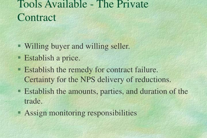 Tools Available - The Private Contract