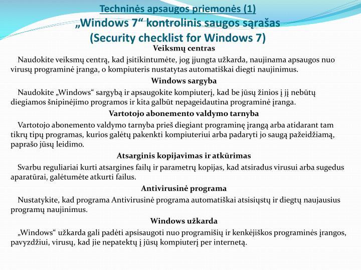 Techninės apsaugos priemonės (1)