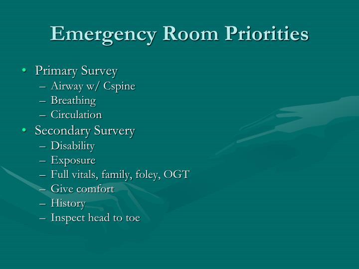 Emergency Room Priorities