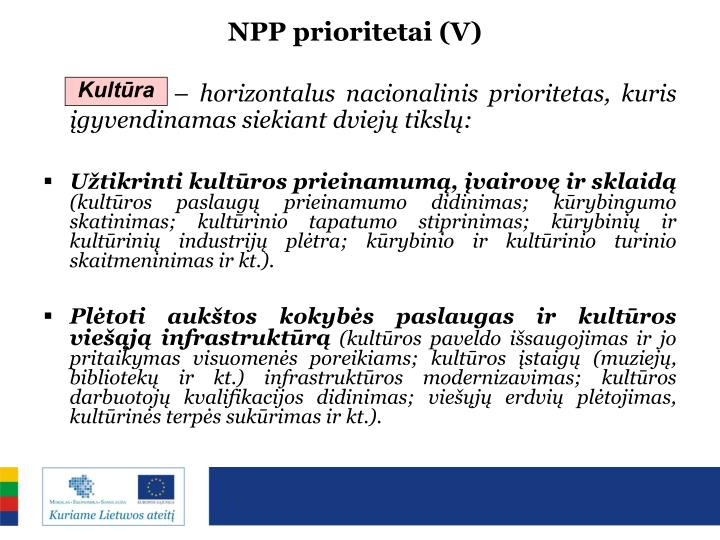 NPP prioritetai (V)