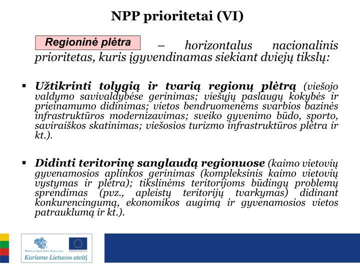 NPP prioritetai (VI)