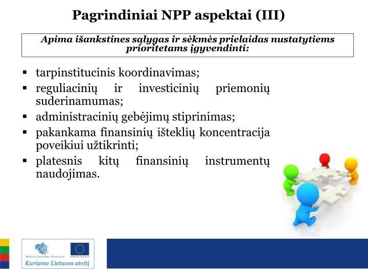 Pagrindiniai NPP aspektai (III)