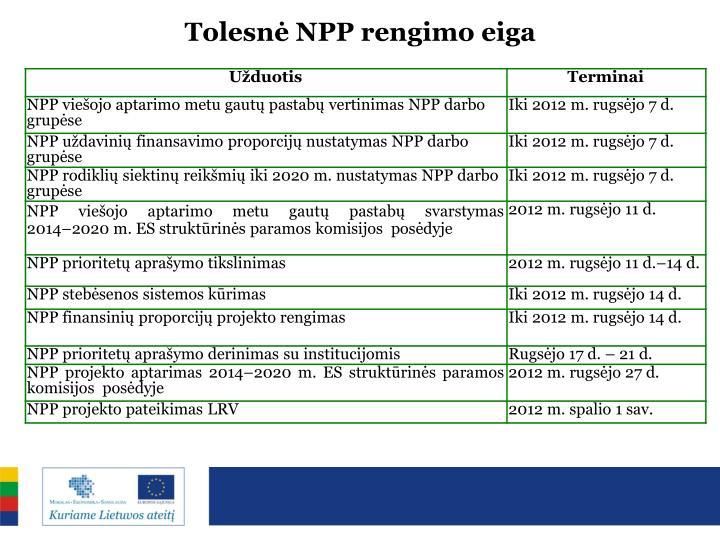 Tolesnė NPP rengimo eiga