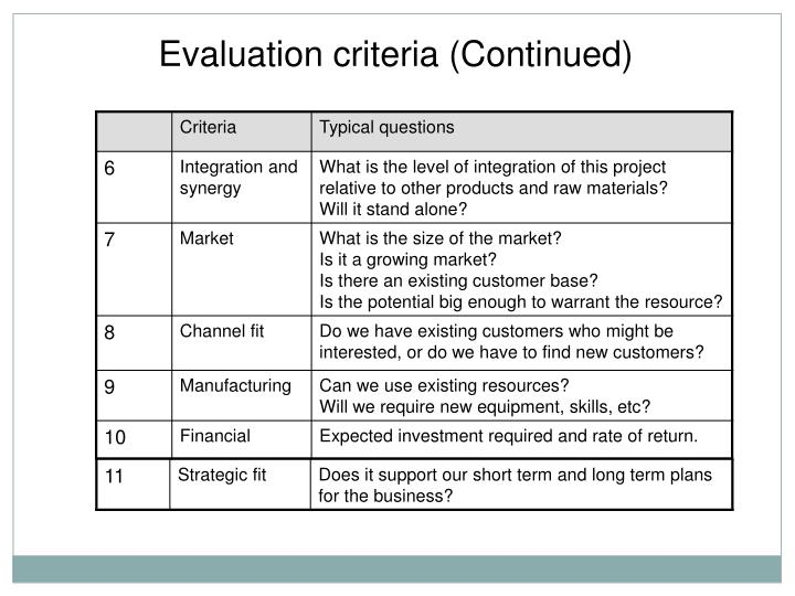 Evaluation criteria (Continued)
