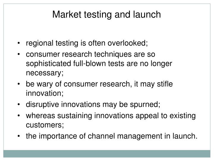 Market testing and launch