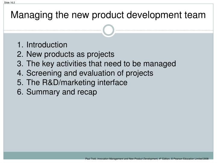 Managing the new product development team