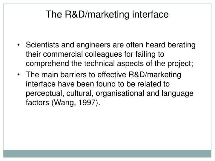 The R&D/marketing interface