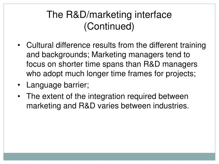 The R&D/marketing interface (Continued)