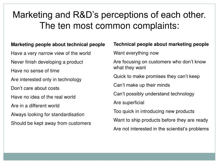 Marketing and R&D's perceptions of each other.