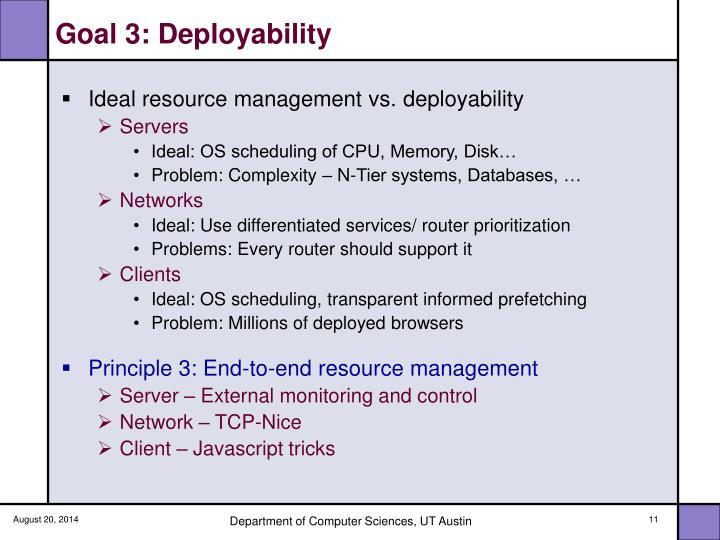 Goal 3: Deployability