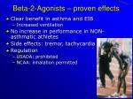 beta 2 agonists proven effects