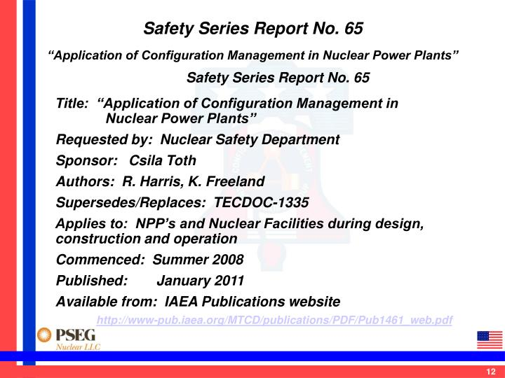 Safety Series Report No. 65