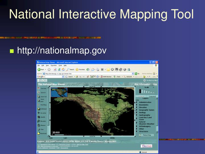 National Interactive Mapping Tool