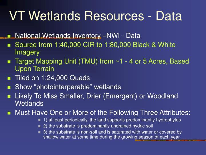VT Wetlands Resources - Data