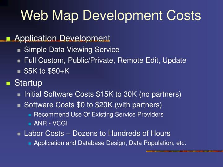 Web Map Development Costs