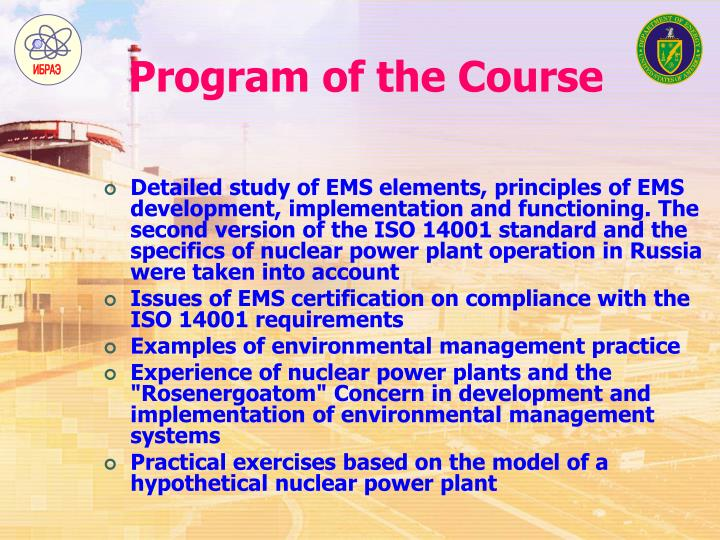 Program of the Course