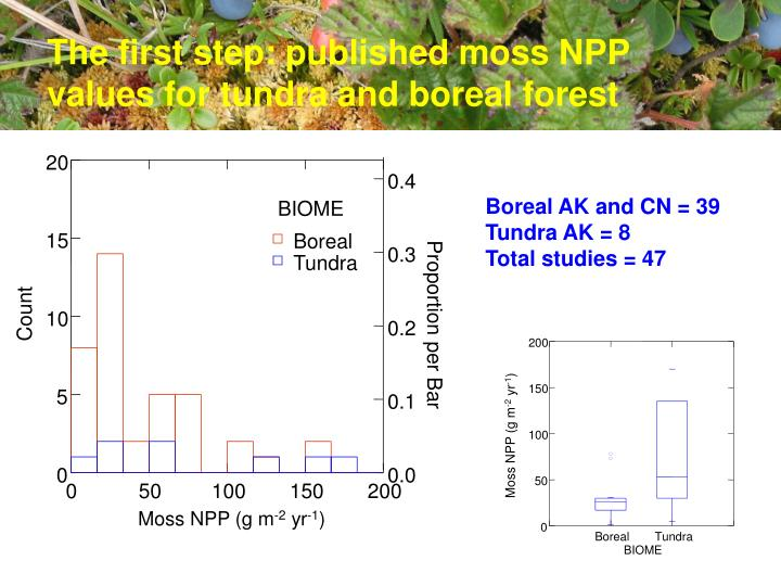 The first step published moss npp values for tundra and boreal forest