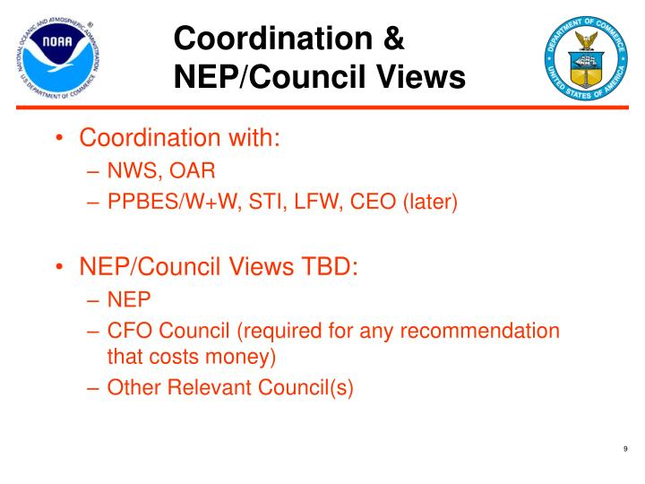 Coordination & NEP/Council Views
