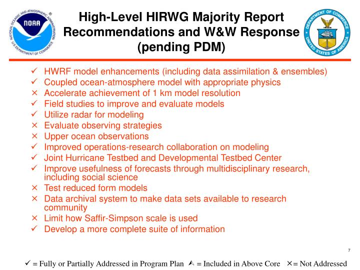 High-Level HIRWG Majority Report Recommendations and W&W Response (pending PDM)