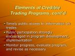 elements of credible trading programs cont d