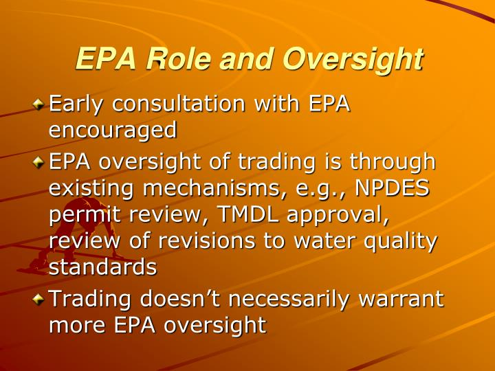 EPA Role and Oversight