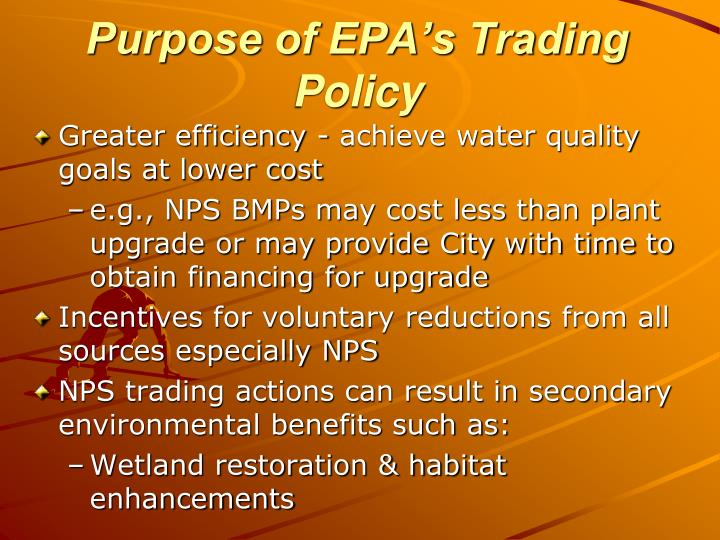 Purpose of EPA's Trading Policy