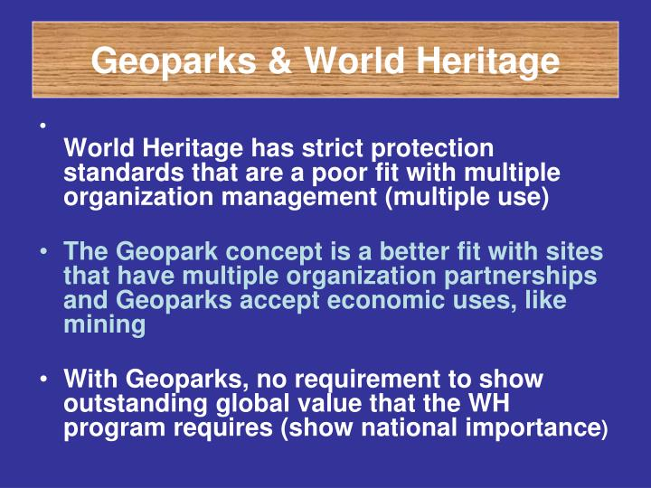 Geoparks & World Heritage