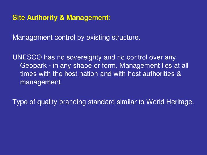 Site Authority & Management: